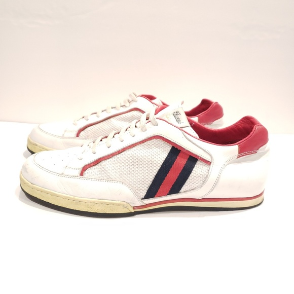 0183f6c0e9 Gucci 83 vintage sneakers size 43 white and ribbon